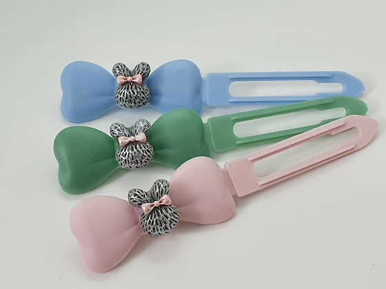 Mini Grey Easter Bunny Ears top knot barrette on a 4.5cm or 3.5 clip