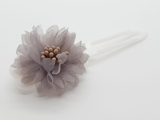 Sliver Netting Flower bow on a 4.5cm clip