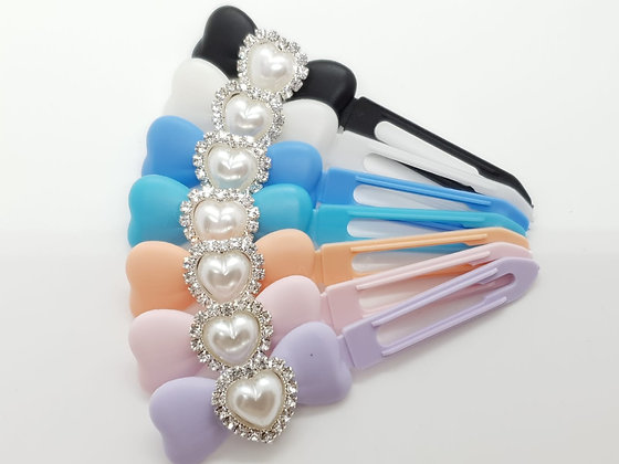 Pearl & Diamante Heart top Knot barrette clip for dogs