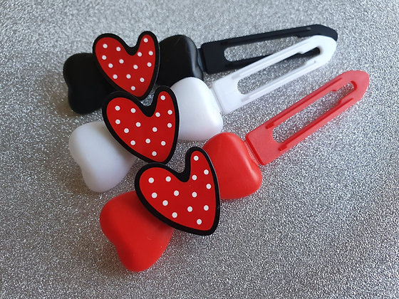 Red Dotty Heart top Knot barrette clip for dogs
