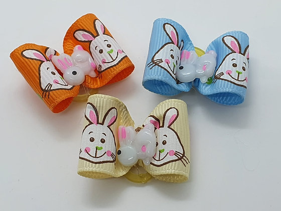Easter Bunny Faced with Central Little Bunny Coloured Top Elastic Bow