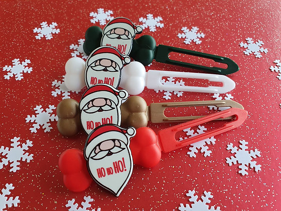 Hoho Santa top knot barrette 4.5cm by Posh Puppy