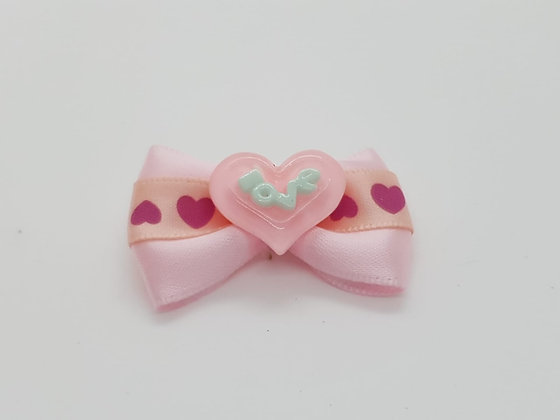 Pink Love Heart Bow Soft Top Knot Elastic
