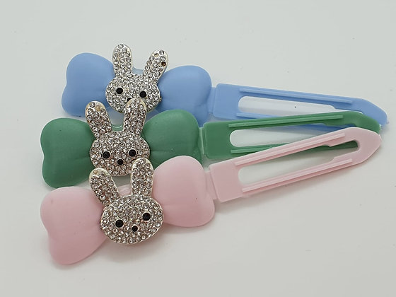 White Diamante Easter Bunny Head top knot barrette on a 4.5cm or 3.5 clip