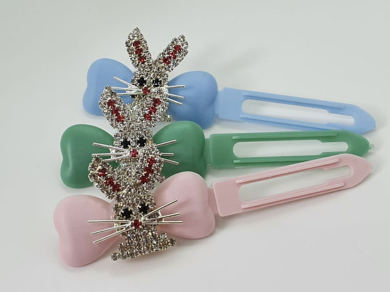 Diamante Easter Bunny top knot barrette on a 4.5cm or 3.5 clip