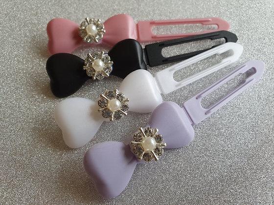 Silver Diamante Pearl Flower top Knot barrette clip for dogs