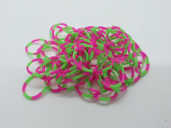 Pink & Green Striped Colour Top Knot Elastic