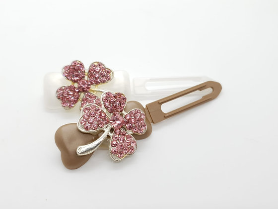 St Patricks Pink Diamante Shaped Clover (Choose your own colour and Clip)