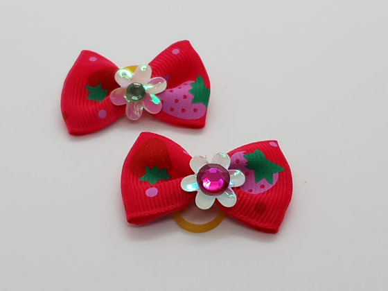 Red Strawberry Patterned Fabric Top Elastic Bow