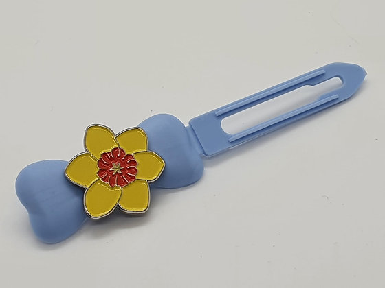 St Davids Spring Daffodil on a Baby Blue 4.5cm Bow Clip
