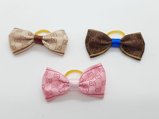 CC Patterned Single Silk Bow Soft Top Knot Elastic