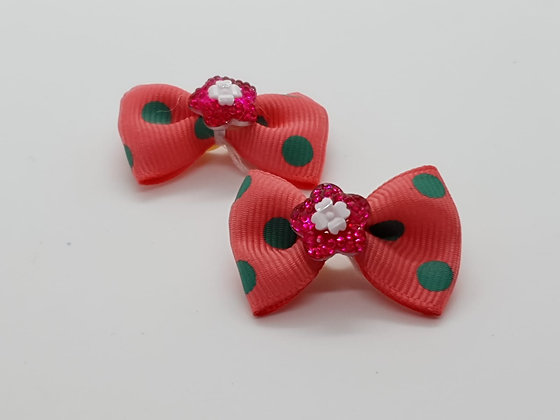 Hot Pink & Green Spots Patterned Fabric Top Elastic Bow