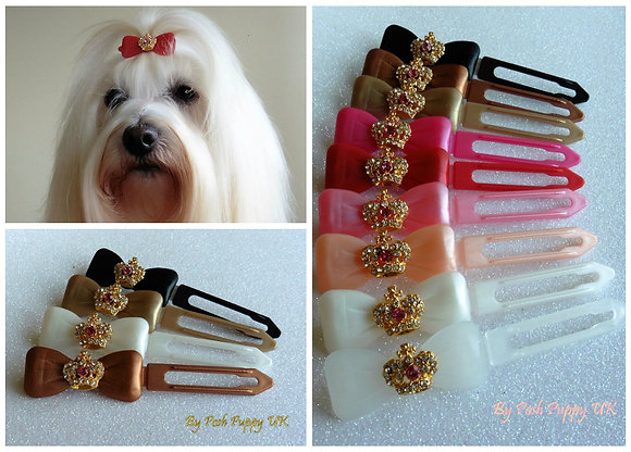 Ruby Red Gold Crown dog top knot barrette clip