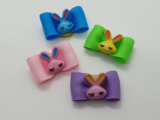 Easter Bunny Head on a Plain Coloured Top Elastic Bow