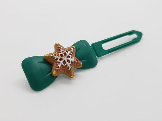 Limited Edition Christmas Snowflake on a Bronze Bow Clip 4.5
