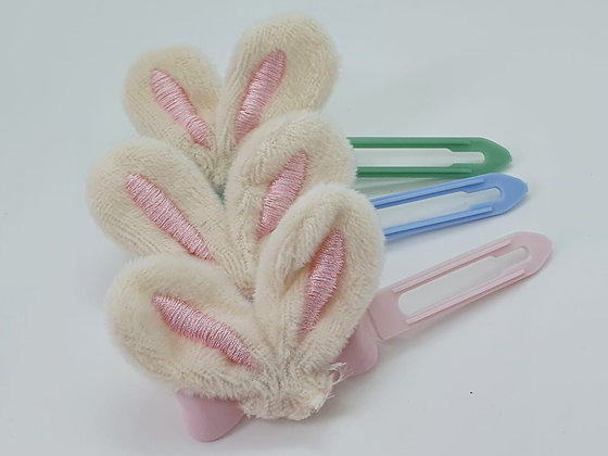 Easter Bunny Fabric Ears top knot barrette on a 4.5cm or 3.5 clip