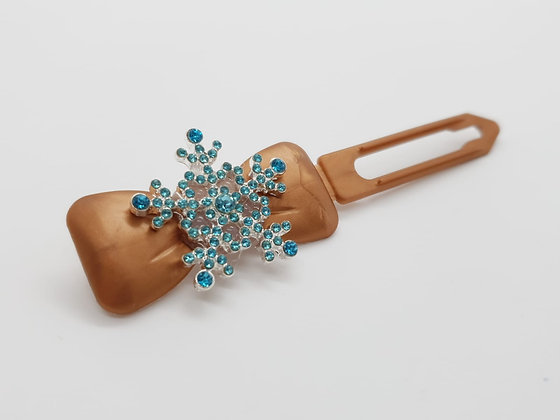 Limited Edition Christmas Diamante Snowflake on a Bronze Bow Clip 4.5