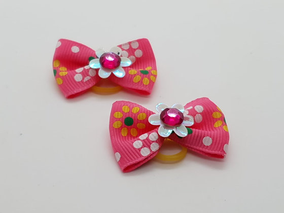 Baby Pink Daisys on a Fabric Top Elastic Bow