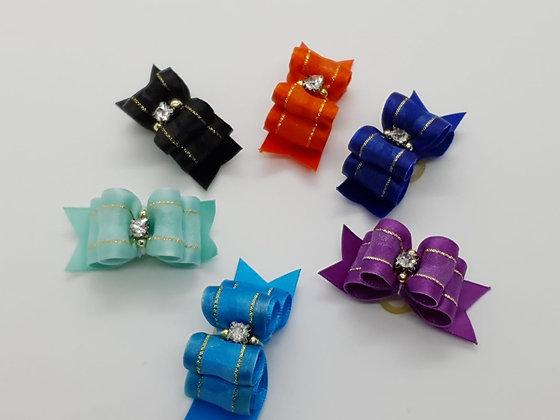 Taffeta Trim Satin Top Knot Soft Elastic Bow