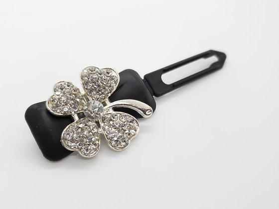 St Patricks White Diamante Shaped Clover (Choose your own colour and Clip)