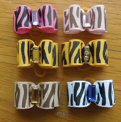Zebra Top Knot Elastic Bow