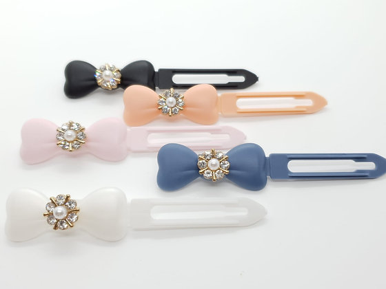 Gold Diamante Pearl Flower top Knot barrette 4.5cm clip for dogs