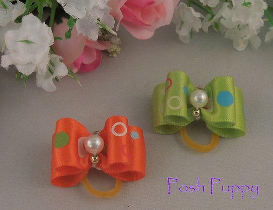 Pearl Pooka Dot Top Knot Elastic Bow