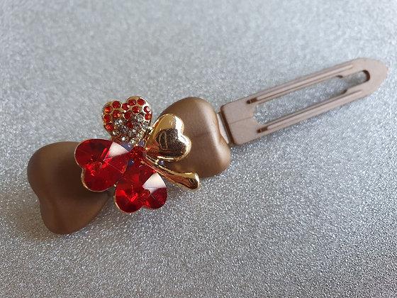 Red Diamante St Patricks Clover Top Knot Clip 4.5cmGreen