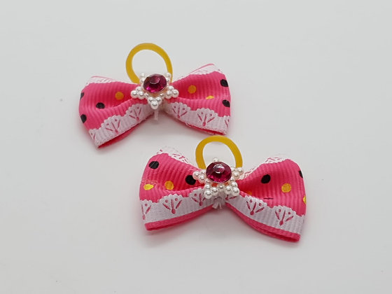 Pink & Black Dotted Fabric Top Elastic Bow