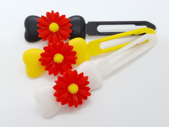 Large Red Daisy with Yellow Centre on a top Knot barrette clip for dog