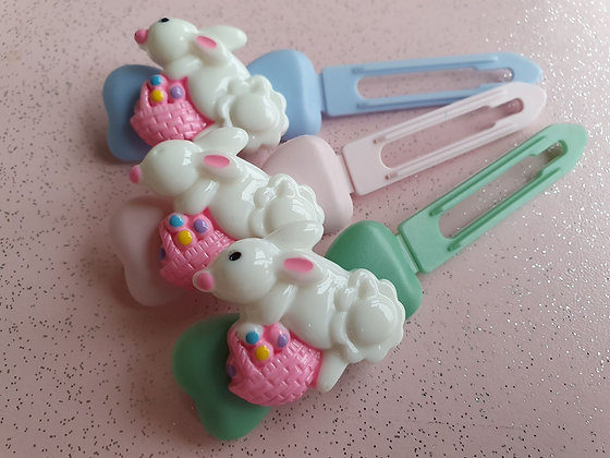 Easter Bunny basket Top knot barrette 4.5cm clips by Posh Puppy UK
