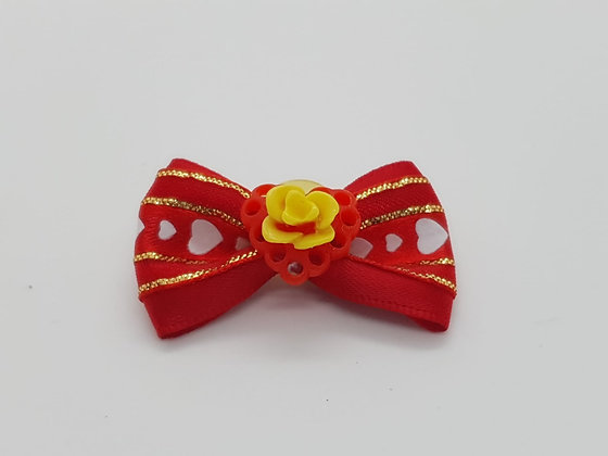 Yellow Rose on a Heart Patterned Soft Top Knot Elastic Bow