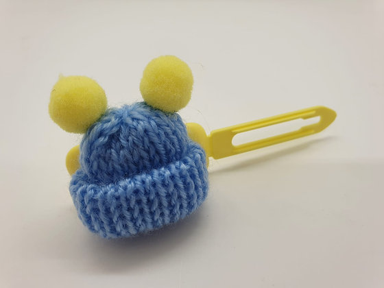 Blue Woolly Bobble Hat on a Pale Yellow 4.5 Bow clip