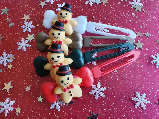 Mr Gingerbread Christmas top knot barrette 4.5cm by Posh Puppy