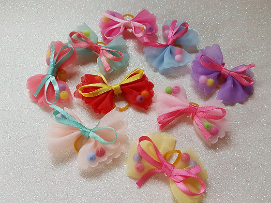 Net Bows Top Knot Elastic Bow