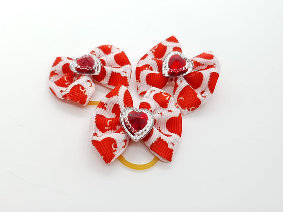 Heart Patterned with Silver and Red Heart Fabric Top Knot Elastic Bow