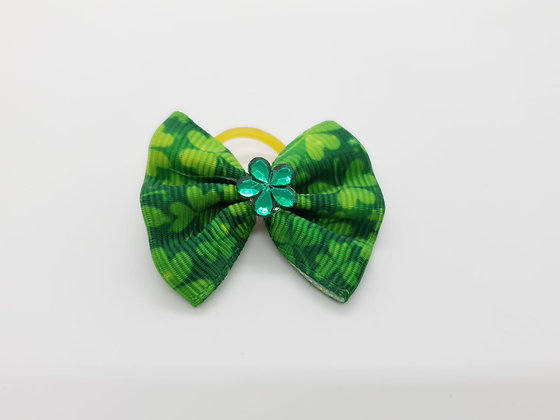 St Patricks Themed Top Knot Elastic Fabric Bow