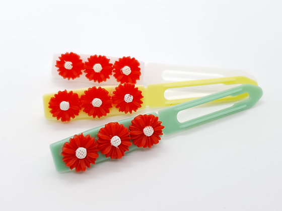 Red Daisys top Knot barrette clip for dogs