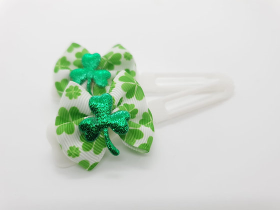 St Patricks Top Knot Fabric Bow on 4.5cm clip