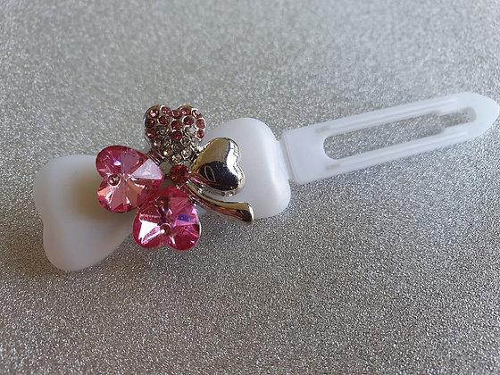 Pink Diamante St Patricks Clover Top Knot Clip 4.5cm