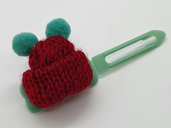 Burgunday Woolly Bobble Hat on a 4.5 Bow clip