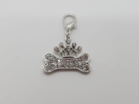 Diamante Crown & Bone Collar Charm Tag