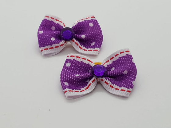 Lilac Spotted Patterned Fabric Top Elastic Bow