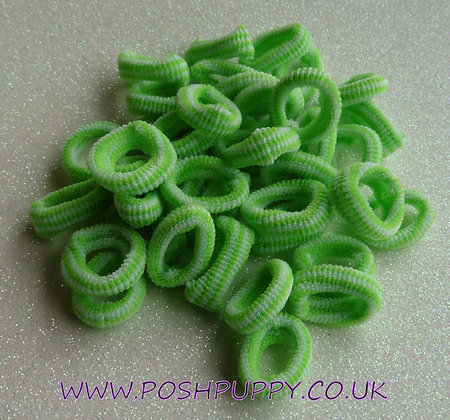Green & White Candy Stripe Soft Top Knot Elastics