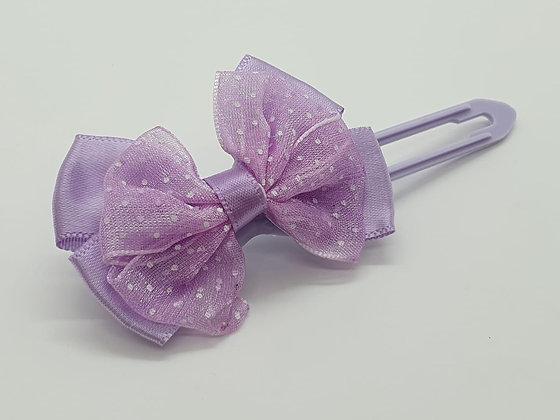 Lilac bow on a 4.5cm clip
