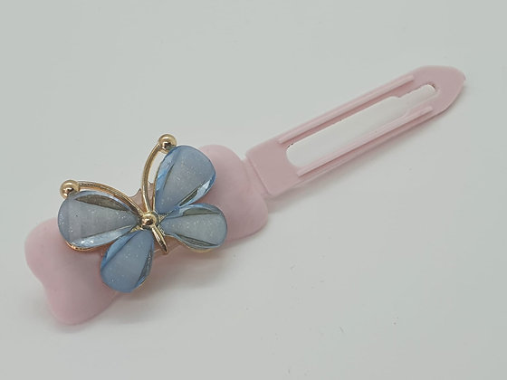 Spring Blue Butterfly on a Pale Pink 4.5 Clip