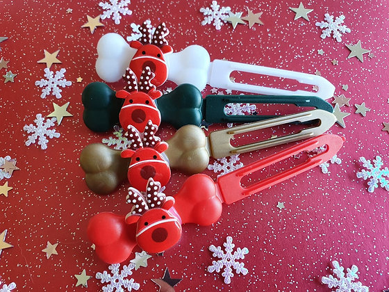 Red Rudolf Christmas top knot barrette 4.5cm by Posh Puppy