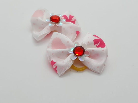 White Ribbon Patterned Silk Top Elastic Bow