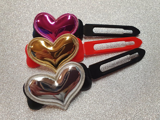 Soft Metallic Heart top Knot barrette clip for dogs
