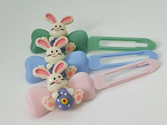 Easter Bunny with Easter Egg top knot barrette on a 4.5cm or 3.5 clip
